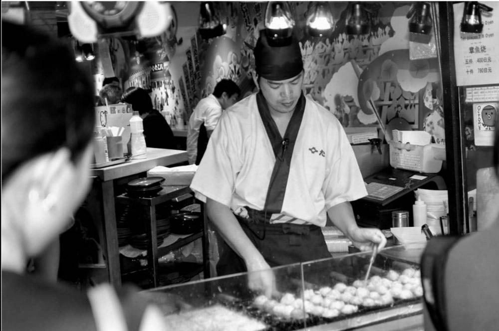 Tako Yaki (poulpe grillé) spécialité de la ville d'Osaka.